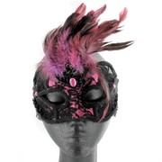 Black & Pink Lace Masquerade Mask With Feathers Pk 1