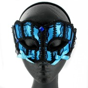 Blue & Black Braid Masquerade Mask With Bows Pk 1