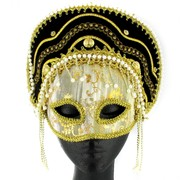 Gold & Black Oriental Masquerade Mask With Pearls Pk 1