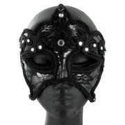 Black Lace Masquerade Mask with Diamontes Pk 1