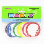 Assorted Colour Name Badges Pk 6