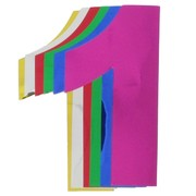 Foil Cutout Numeral 1 Assorted Colours Pk12