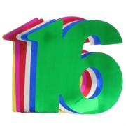 Foil Cutout Numeral 16 Assorted Colours Pk12