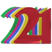 Foil Cutout Numeral 21 Assorted Colours Pk12