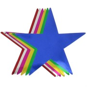 Foil Cutout Stars Assorted Colours Pk12
