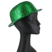 Glitter Green Bowler Party Hat Pk1