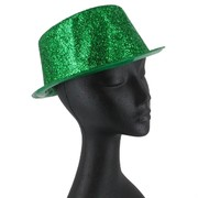 Hat Top Glitter Green Pk1