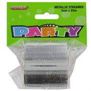 Streamer Metallic Silver 25M Pk1