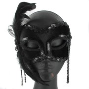 Black Masquerade Mask With Bow & Feathers Pk 1