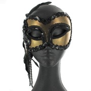 Black & Gold Masquerade Mask With Beads & Feather Pk 1