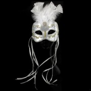 Gold & Silver Masquerade Mask With Trim, Ribbons & Feathers Pk 1