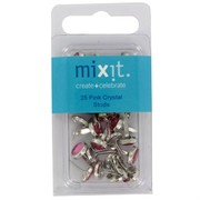 Paper Fastners Studs Pink Crystal Pk25
