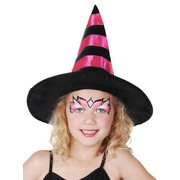 Child Witch Hat with Black & Pink Stripes Pk 1