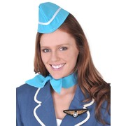 Air Hostess Costume Set - Hat Scarf & Badge Pk 1