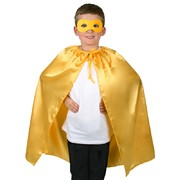 Child Super Hero Satin Cape & Eye Mask Set - Yellow