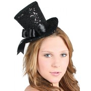 Black Sequin Mini Top Hat Pk 1