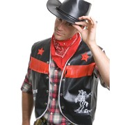Adult Cowboy Set - Black Vest and Red Bandana Pk1
