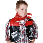 Child Cowboy Costume Set - Black Vest & Red Bandana Pk 1