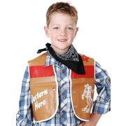 Child Cowboy Costume Set - Brown Vest & Black Bandana Pk1