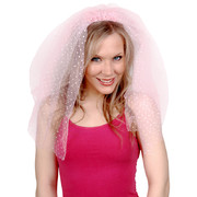 Pink Veil with White Spots on Headband Pk 1