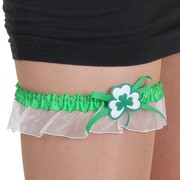Irish Garter - White & Green with Shamrock Pk 1