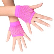 Short Neon Pink Fishnet Gloves Pk 2