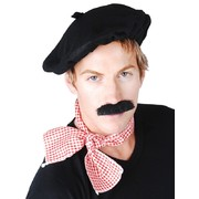 Costume Adult French Man Set - Beret, Scarf, Moustache Pk1