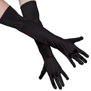 Long Black Satin Gloves Pk 2
