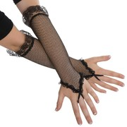 Long Black Fishnet Gloves Pk 2