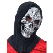 Adult Silver Skull Mask with Black Hood
