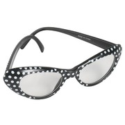 60's Party Glasses - Black  with White Polka Dots Pk1