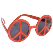 Red Peace Sign Glasses with Dark Lenses Pk 1