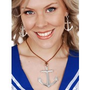 Silver Anchor Earrings & Pendant Set Pk 1