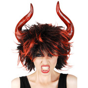 Red and Black She Devil Wig with Horns Pk 1