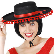 Black Spanish Hat with Red Pom Pom Trim Pk 1