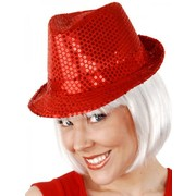 Red Sequin Trilby Hat Pk 1
