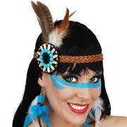 Indian Bead & Feather Headband Pk 1