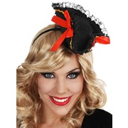 Mini Black Pirate Hat On Headband with Red Ribbons Pk 1