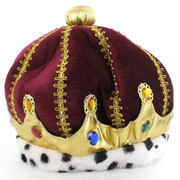 Burgundy Velvet Crown Hat with Gold Braid Pk 1