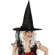 Black Witch Hat with Spider Web Pattern Pk 1
