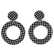 Black Clip-on Hoop Earrings with White Dots Pk 2