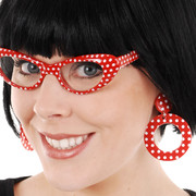 Red Clip-on Hoop Earrings with White Dots Pk 2