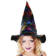 Soft Child Witch Hat with Multi-Colour Metallic Spider Web Print Pk 1