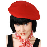 Red Felt French Beret Pk 1 (Hat Only)