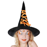 Black Child Witch Hat with Orange Ribbon Pk 1