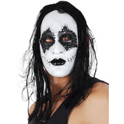 Black & White Latex Mask with Hair