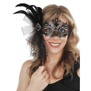Provence Black Metal Eye Mask with Feathers on Stick Pk 1