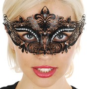 Black Metal Eye Mask with Diamantes Pk 1