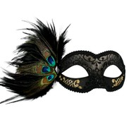 Black & Gold Eye Masquerade Mask with Peacock Feathers - Adrianna Pk 1