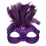 Purple Glitter Masquerade Mask with Feathers - Daniella Pk 1